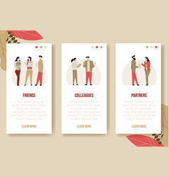 vertical banners set - modern cartoon flat people vector image