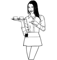 Waitress carrying coffee vector