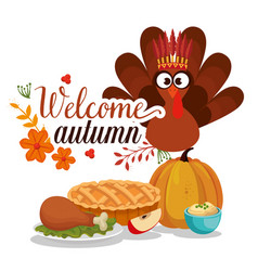 welcome autumn card with turkey vector image