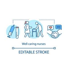 Well caring nurses concept icon vector