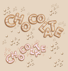 White chocolate logo design 3d letters vector