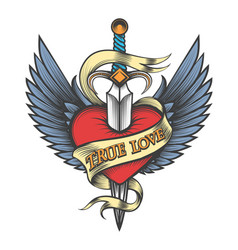 Winged heart pierced dagger vector
