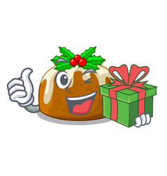 With gift christmas pudding on dinning table vector