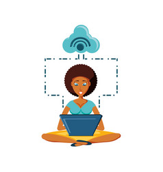 Woman black sitting with laptop and cloud vector
