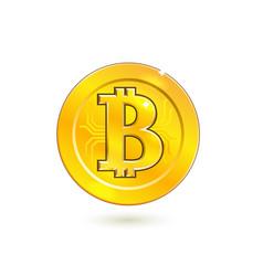 bitcoin cryprto currency golden coin vector image
