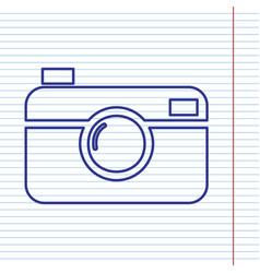 digital photo camera sign navy line icon vector image