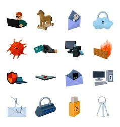 Hackers and hacking set icons in cartoon style vector image