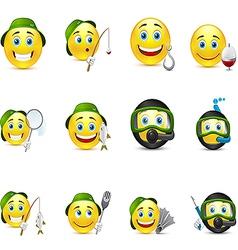 interesting set of smiles on fishing underwater vector image vector image