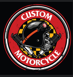 badge design of vintage rider skull vector image vector image