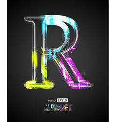 Design light effect alphabet letter r vector