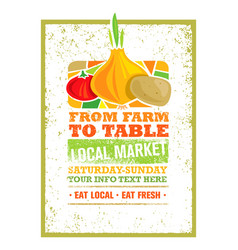 from farm to table fresh local food print concept vector image vector image
