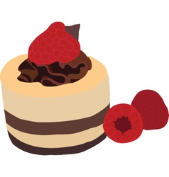 Raspberry mousse cake vector image vector image