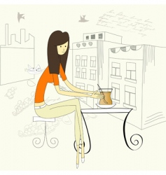 girl with cup of tea vector image vector image