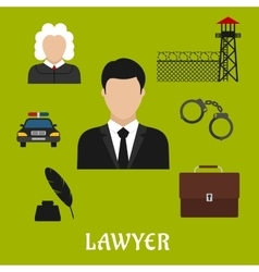 Lawyer and justice flat symbols or icons vector image vector image