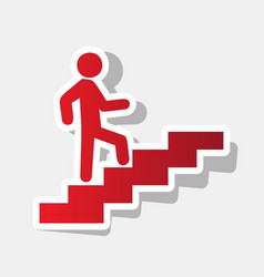man on stairs going up new year reddish vector image