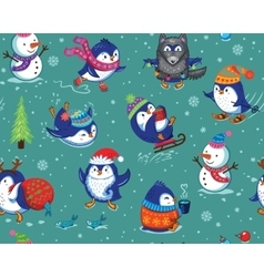 Seamless pattern with funny penguins isolated on vector image vector image