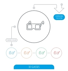 3D glasses icon Cinema technology sign vector image