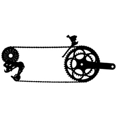 Bicycle drive chain silhouette vector image