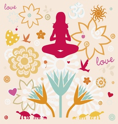 composition of esoteric flower symbols for yoga vector image vector image