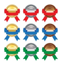 Gold silver and bronze medals with ribbons on vector image
