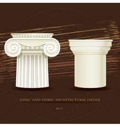 Ionic and Doric architectural order vector image vector image