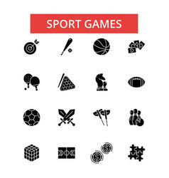 sport games thin line icons linear vector image vector image