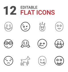 12 smile icons vector