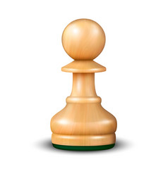 3d realistic wooden pawn icon closeup vector