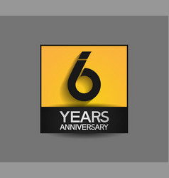 6 years anniversary in square yellow and black vector