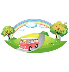 A pink bus with passengers vector image