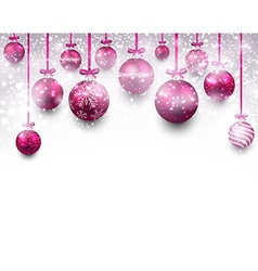 Arc background with magenta christmas balls vector