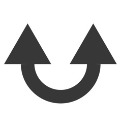 Arrows up curved design with two differents ways vector
