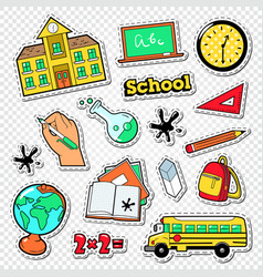 Back to school doodle educational stickers vector