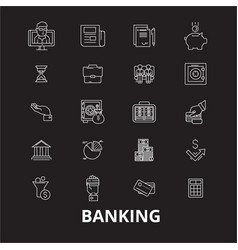 banking editable line icons set on black vector image