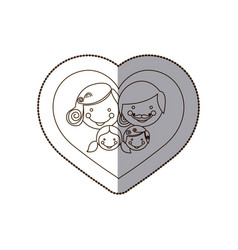 beutiful family inside the heart icon vector image