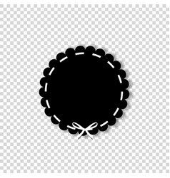 black circle seal stamp with white ribbon vector image