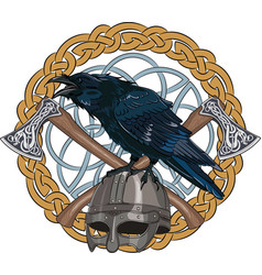 Black crow sitting on a viking helmet with two vector