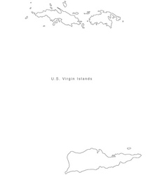 Black White US Virgin Islands Outline Map vector image