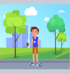 boy riding on personal transporter in park vector image