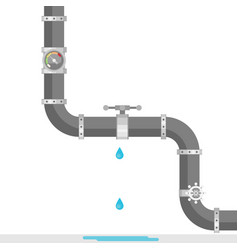 Broken metal pipe with leaking water flat style vector