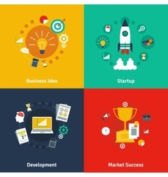 Business concept 4 flat icons square vector image