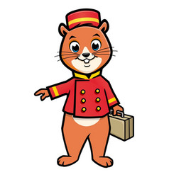 cartoon chipmunk bellboy vector image