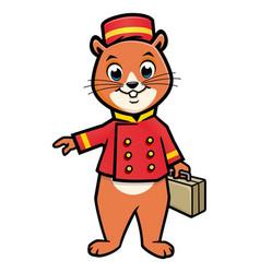 Cartoon chipmunk bellboy vector