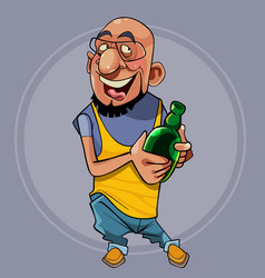 Cartoon joyful character is a bearded man stands vector