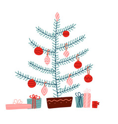 christmas concept tree decorated vector image