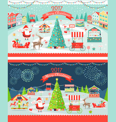 Christmas market day and night panoramic vector