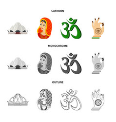 Country india cartoonoutlinemonochrome icons in vector