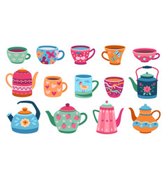 cups and teapot scandinavian kitchen cup trendy vector image