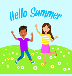 Cute funny kids happy on summertime vacation vector