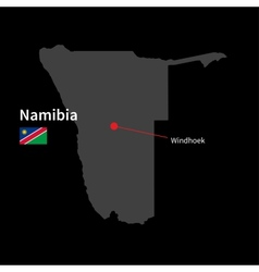 Detailed map of Namibia and capital city Windhoek vector image